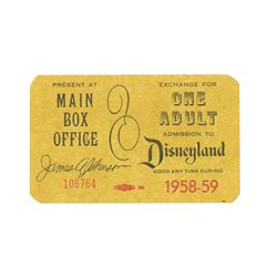 Signed Complimentary Adult Admission Ticket.