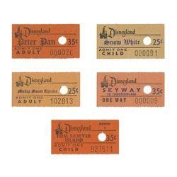 Set of (5) Disneyland Attraction Admission Tickets.
