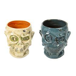 Pair of Trader Sam's Enchanted Tiki Bar Zombie Mugs.