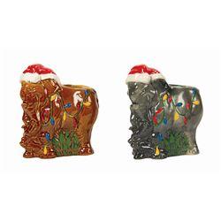 Pair of Trader Sam's Holiday Elephant Tiki Mugs.