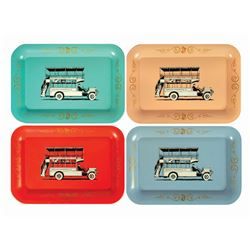 Collection of (4) Disneyland Omnibus Tin Trays.