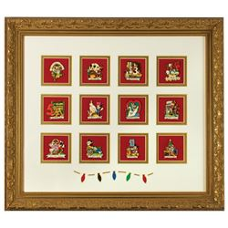 """Twelve Days of Christmas"" 24kt. Gold Plated Pin Set."