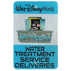 Splash Mountain Water Treatment Deliveries Sign.