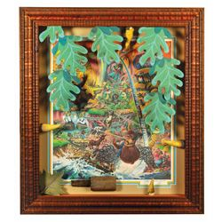 Framed Set of (9) Splash Mountain Props & Print.