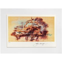 John Hench Signed Tomorrowland Lithograph.