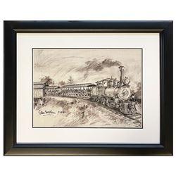 "Sam McKim ""Fred Gurley"" Steam Train Lithograph."