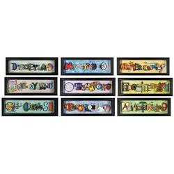 Set of (9) Dave Avanzino Icon Letters Series Artworks.
