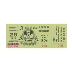 Complete Mickey Mouse Club Circus Admission Ticket.