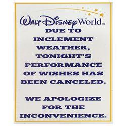 Walt Disney World Inclement Weather Cancellation Sign.