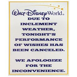 Walt Disney World Inclement Weather Cancellation Sign.