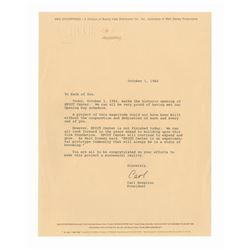 Imagineering President's Letter on Epcot Opening.