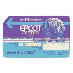 Epcot Center Opening Year Adult Admission Ticket.