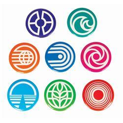 Set of (8) Epcot Pavilion Buttons.