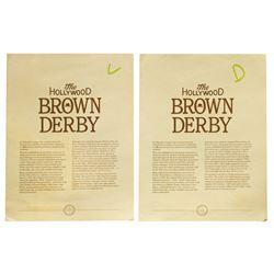 Hollywood Brown Derby Menus & Reservation Card.