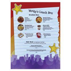 Woody's Lunch Box Breakfast Menu.