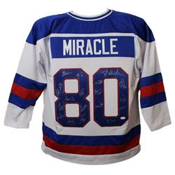 1980 USA Hockey 'Miracle On Ice' Team Signed USA White Custom #80 Throwback Hockey Jersey (19 Sigs)