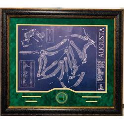Augusta National Golf Course Framed Blue Print