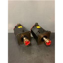 (2) - FANUC A06B-0266-B100#0100 A860-2000-T321 AC SERVO MOTORS (ONE DAMAGED CONNECTOR)