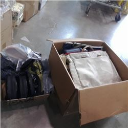 Box of new ice guard straps, shoes and bags