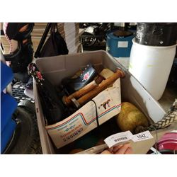 TOTE OF BOAT FLOATS, VINTAGE SPOOLS AND ROLLER SKATES