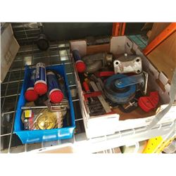 TRAY OF CLAMPS, CASTORS, TRAY OF GREASE AND SHOP SUPPLIES