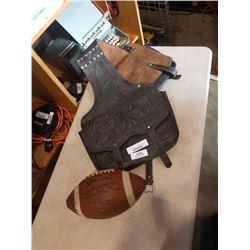 Leather saddle bag and vintage CFL football