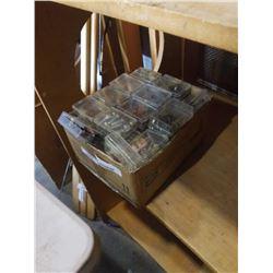 BOX OF HARDWARE IN SMALL BINS