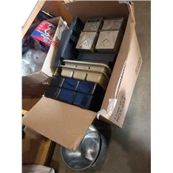 BOX OF PLASTIC AND METAL TRAYS AND BUCKETS