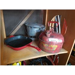 METAL GAS CAN, CAST IRON PAN AND STRAINER POT