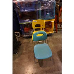 YELLOW AND BLUE METAL FRAMED CHAIRS