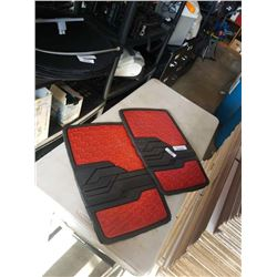 2 RED AND RUBBER FLOOR MATS