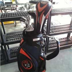E21 GOLF CART BAG AND ASSORTED E21 AND CLEVELAND CLUBS