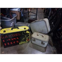 YELLOW CASE, PLANO TACKLEBOX AND HARD CASE