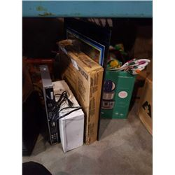 Attic vent, plexiglass front, box of tools, slip covers and costumes