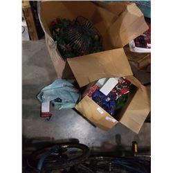 2 BOXES OF XMAS DECOR, GARLAND