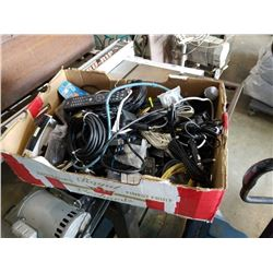 TRAY OF POWER SUPPLIES, AV CABLES, ELECTRONICS