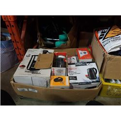 BOX OF KITCHEN APPLIANCES AND BOX OF BIKE FENDERS