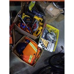 3 BOXES OF SAFETY GEAR, TOOLS, AUTO PARTS, COVERALLS, ETC