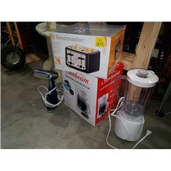 Toaster, coffee maker, blender and steamer
