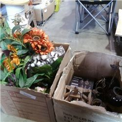2 boxes of artificial flowers, christmas string lights and more