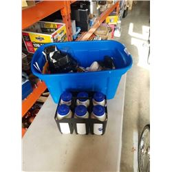 Tote of sporting goods and water bottles