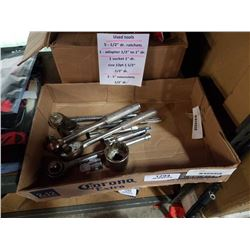 TRAY OF ASSORTED SOCKET WRENCHES, EXTENSIONS, ETC