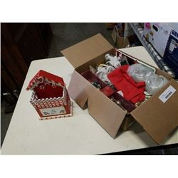 Box of christmas decor and collectibles