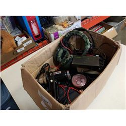 Box of electronics, including styling master blow dryer, intercom and more