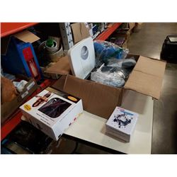 Box of fitness equipment, boxing coordinator, yoga ball and more