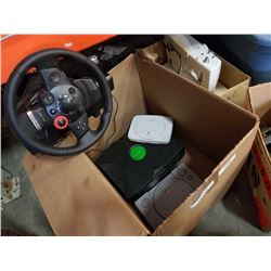 2 PLAYSTATIONS, XBOX CONSOLE AND LOGITECH STEERING WHEEL