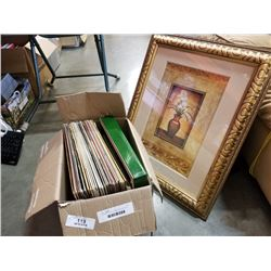 """24 ASSORTED VINYL RECORDS AND GOLD FRAMED 27 X 20 STILL LIFE PRINT """"FLOWERS AND VASE"""""""