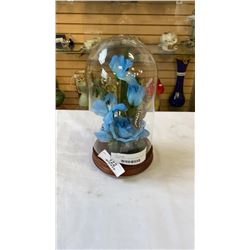 FLORAL DISPLAY IN GLASS DOME DISPLAY CASE