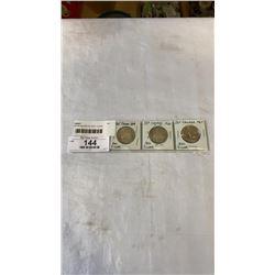 3 CANADIAN SILVER 50 CENT COINS - 1965-1967 CENTENNIAL YEAR .800 SILVER