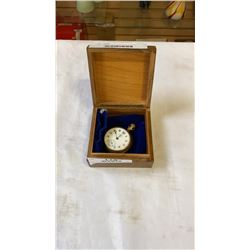 WALTHAM POCKET WATCH W/ WOODEN CASE AND BAG